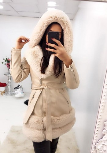 Keon Cream Faux Leather Faux Fur Hooded Coat