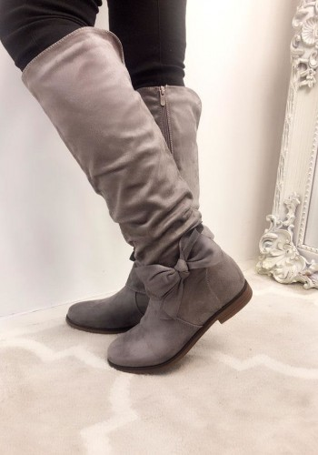 Klara Faux Suede Side Bow Boots