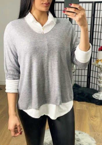 Kyro Knitted Blouse Detailed Thin Knit Jumper