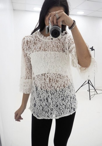 Torrence crochet flared sleeve blouse