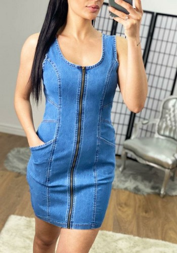 Lanai Denim Fitted Zip Detailed Pocket Dress