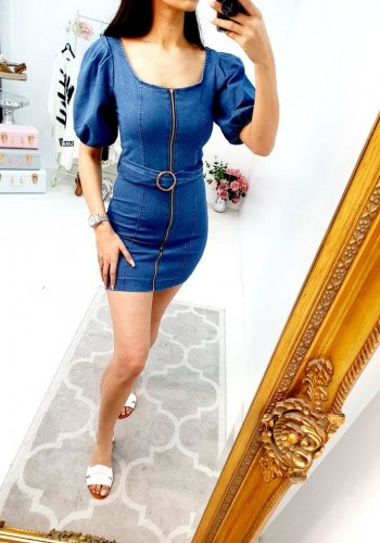 Lavender Puff Sleeve Zip Belt Denim Dress