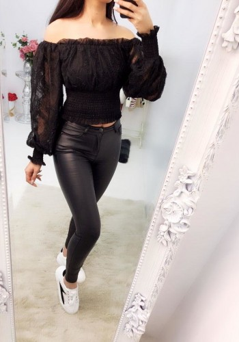 Layley Black Cropped Lace Puff Sleeve Top