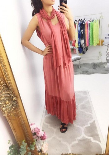 Lee Two Piece Scarf Maxi Dress