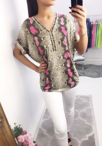 Lena Snake Print Crushed Diamante Top