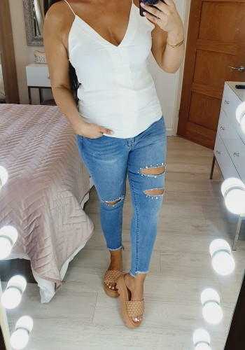 Lilian Pearl Diamante Detailed Ripped Skinny Jeans