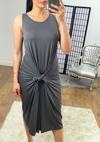 Luanna Oversized Drape Side Sleevless Jersey Dress
