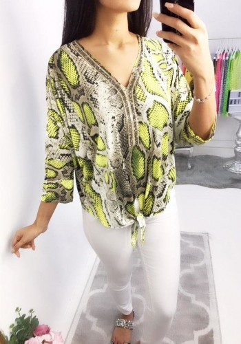 Luisa Snake Print Crushed Diamante Top