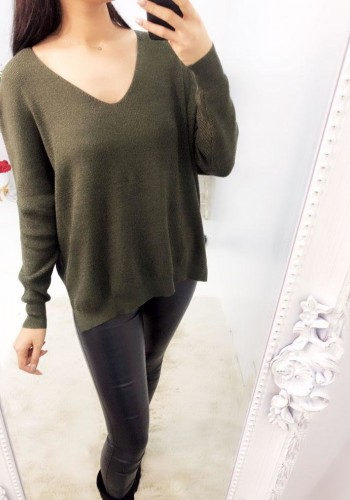 Lyana Plain Glitter V-neck Knitted Jumper