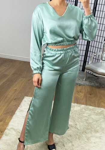 Manrika Satin Cropped Top Wide Leg Loungewear Set