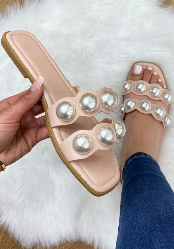 Mateo Faux Leather Chunky Pearl Sliders