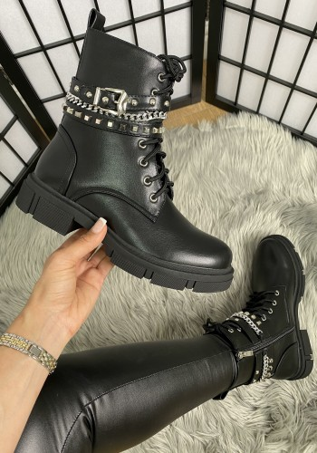 Matilder Faux Leather Studded Strappy Biker Boots