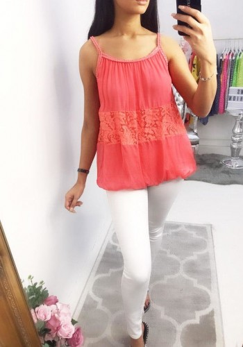 Mauve Lace Chiffon Twist Vest Top