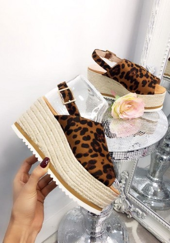 Meadow Leopard Faux Suede Wedge