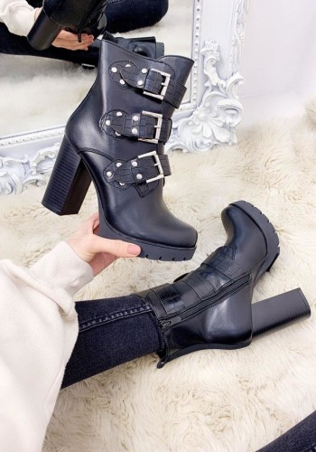 Mia Faux Leather Buckle Chunky Heel Ankle Boots