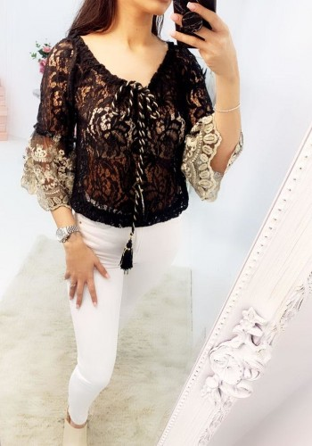 Michelle Lace Bell Sleeve Detailed Tassel Top