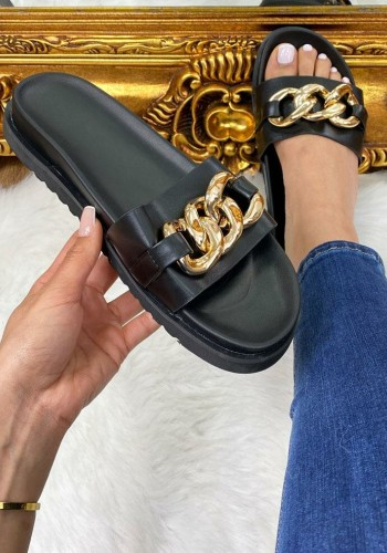 Mickie Faux Leather Chain Detailed Sliders