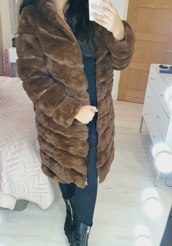 Miki Chocolate Faux Fur Panelled Long Line Hooded Coat