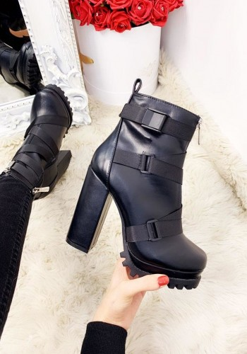 Milo Black Faux Leather Strappy Buckle Chunky Ankle Heel Boots