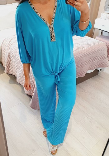 Mimi Crushed Diamante Pleated Wide Leg  Loungewear Set