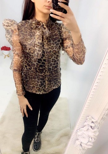 Mindie Khaki Leopard Print Tie Bow Puff Sleeve Blouse