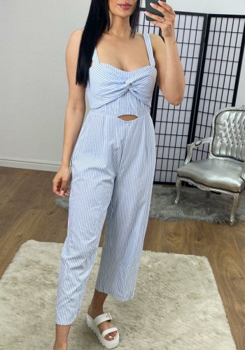 Minette Blue And White Stripe Knotted Jumpsuit