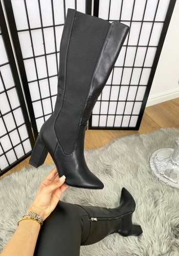 Mira Black Faux Leather Pointed Elasticated Knee High Heel Boots