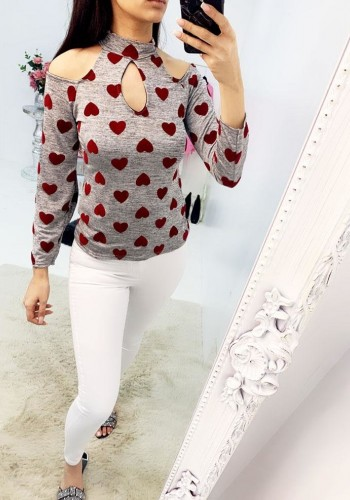 Mizzy cold shoulder key hole heart top