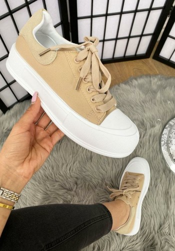 Mundy Chunky Plain Lace Up Canvas Trainers