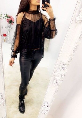 Mysha Black Mesh Pearl Bell Sleeve Top
