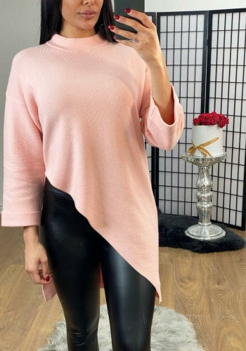 Naideem Asymmetric Ribbed Knitted Turtle Neck Jumper