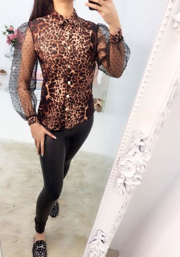 Nevada Leopard Sheer Puff Sleeve Blouse