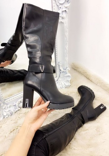 Navaeh Black Faux Leather Knee High Chunky Heel Boots