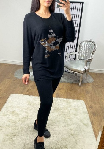 Nelly Camo Diamante Star Printed Knitted Loungewear Set