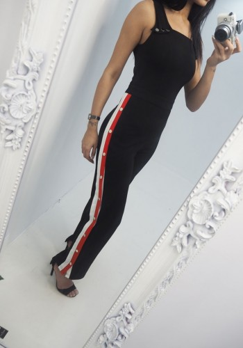 Yasmin Side Stripe Popper Jumpsuit