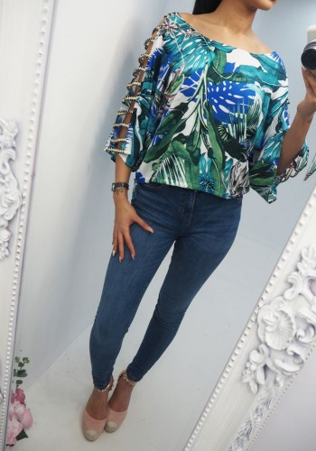 Sophie Jungle Print Cut Out Sleeve Blouse