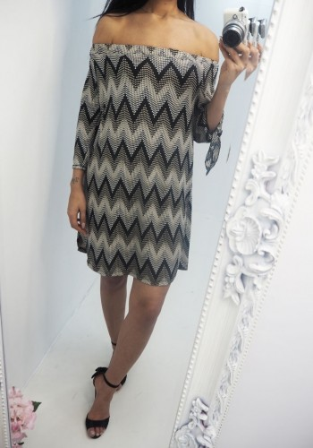 Floss Bardot Zig Zag Dress
