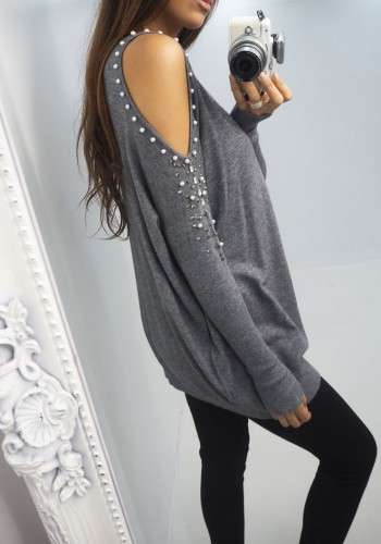 Tyla silver pearl and crystal cold shoulder jumper
