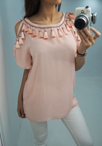 Imogen tassel cold shoulder chiffon top