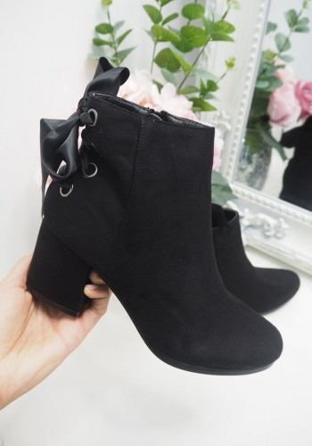 Aspen suedette ribbon lace up heeled ankle boots