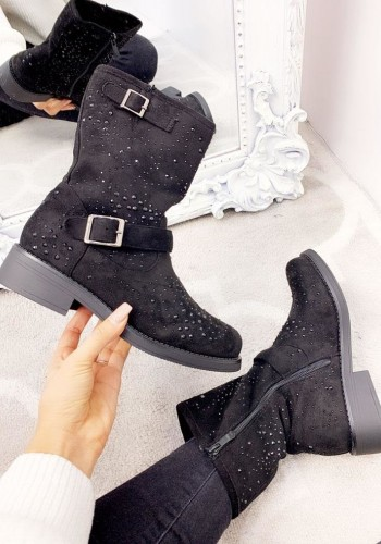 Paige Black Faux Suede Diamante Buckle Ankle Boots