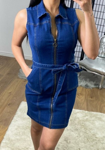 Pammy Dark Denim Zip Detail Tie Waist Dress