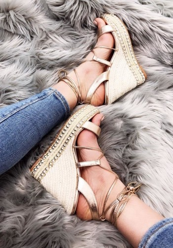 Perla Stud Detail Tie Up Strappy Espadrille Wedges