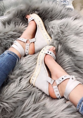 Pedro Studded Espardrille Peep Toe Wedges