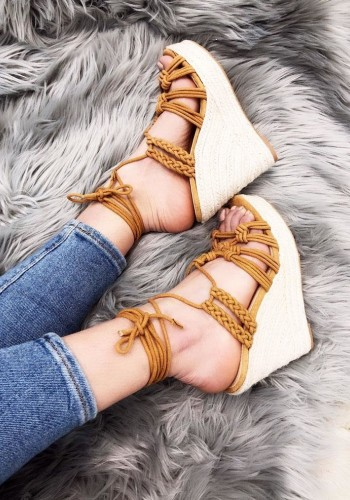 Peri Plait Ankle Tie Strappy Espadrille Wedges