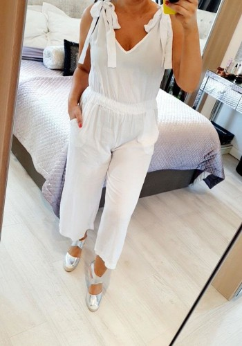 Perlo Knot Tie Shoulder Jumpsuit