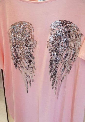 Perry Sequin Angel Wing Back Super Stretch T-shirt