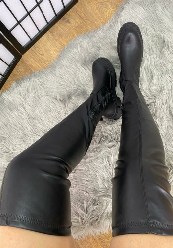 Amella Faux Leather Over Knee Zip Boots
