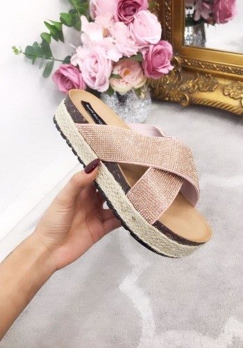 Pia Criss Cross Diamanté Sliders