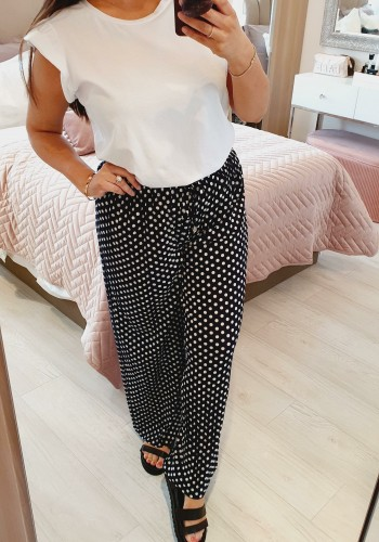 Piya Polka Dot Wide Leg Pleated Trousers